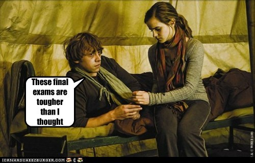 emma watson,final exams,Harry Potter,hermione granger,hurt,Ron Weasley,rupert grint,tough