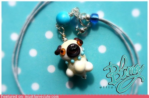glass Jewelry necklace pendant pug - 6440423168