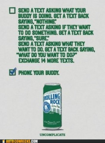 nature of communication phone your buddy rolling rock send a text