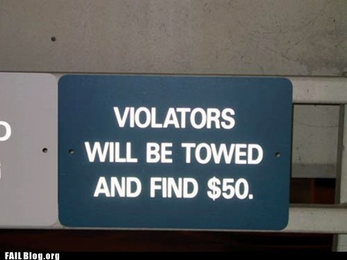 fined,misspelled signs,towed,violators