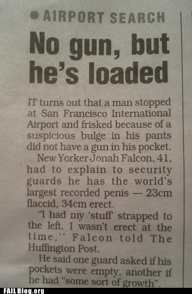 genitals,gun,newspaper,Probably bad News