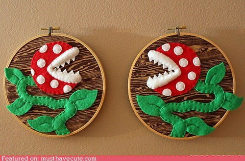 handmade mario Piranha Plant sewing textiles video game