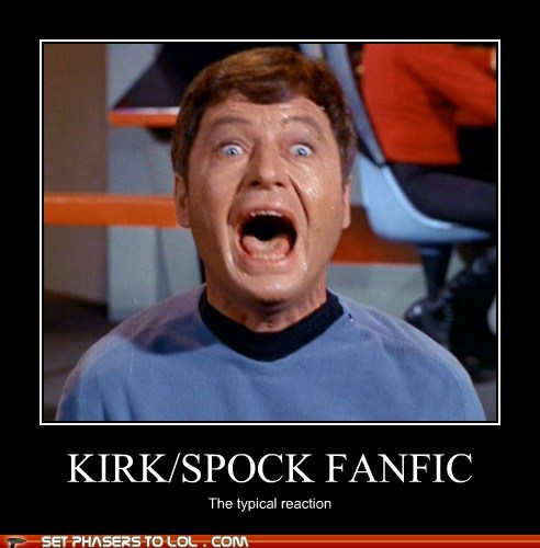 Captain Kirk DeForest Kelley fanfic fear McCoy reaction scared screaming slash fiction Spock Star Trek - 6441005568