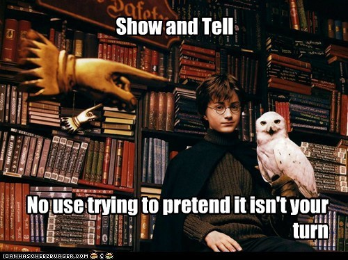 Daniel Radcliffe Harry Potter hedwig Hogwarts no use Owl pretend show and tell - 6441573632