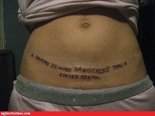 loaded pistol Stomach tattoos women - 6441595904
