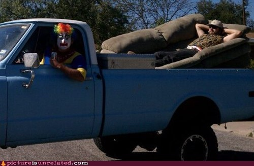 clown couch drive relaxing wtf