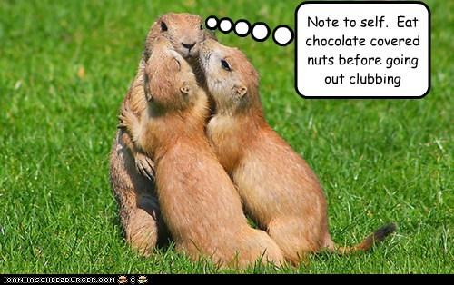 chocolate clubbing gophers kissing note to self nuts playa