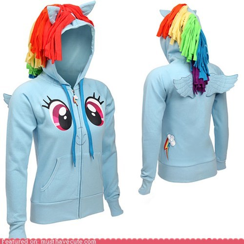 hoodie mane mlpfim my little pony rainbow dash wings - 6442412032