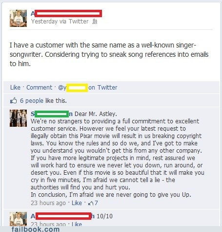 customer service rickrolled celeb rick astley failbook g rated