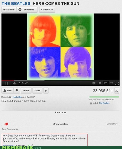 john lennon justin beiber Music the Beatles youtube - 6442467584