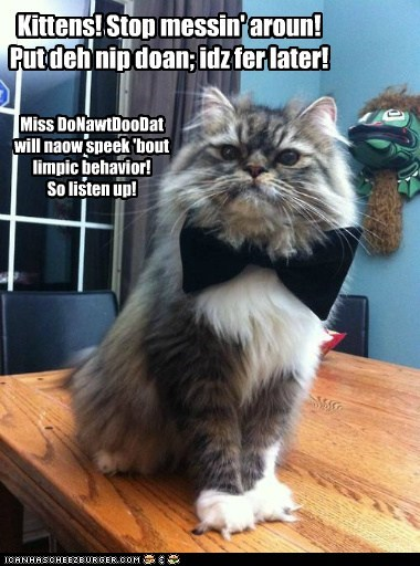 Kittens! Stop messin' aroun! Put deh nip doan; idz fer later! Miss DoNawtDooDat will naow speek 'bout limpic behavior! So listen up!