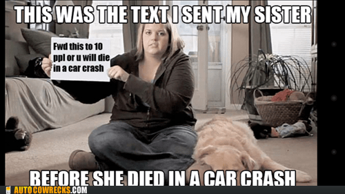 AutocoWrecks died in a car crash forward this g rated texting and driving - 6442929664
