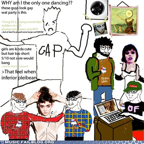 death grips,hipsters,moo,parties