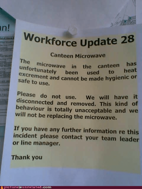 coworkers feces gross microwave Office work wtf - 6443258368