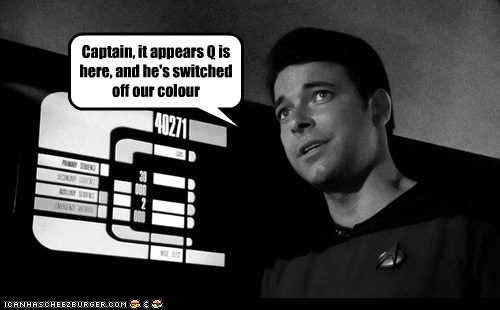 black and white captain color Jonathan Frakes noir Q Star Trek the next generation william riker