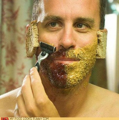 bread,face,jam,peanut butter,shave,weird