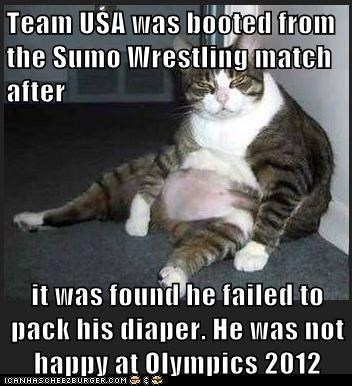 Team USA was booted from the Sumo Wrestling match after   it was found he failed to pack his diaper. He was not happy at Olympics 2012