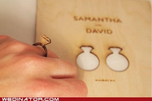 crafts funny wedding photos invitations invites laser cut rings - 6443503616