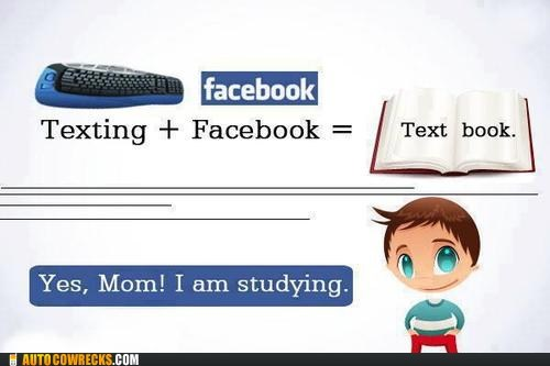 facebook genius studying textbook texting - 6443640064