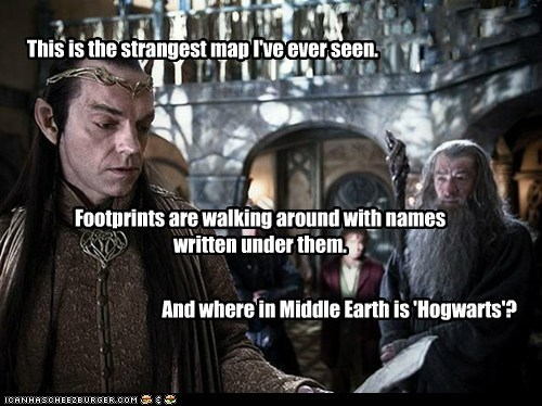 Bilbo Baggins,elrond,gandalf,Harry Potter,Hogwarts,Hugo Weaving,ian mckellan,marauders map,Martin Freeman,middle earth