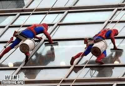 cleaning Spider-Man super heroes windows - 6444069888