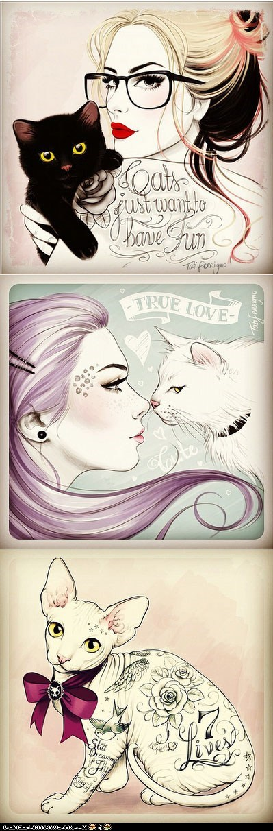 art,awesome,Cats,design,illustration,pinup
