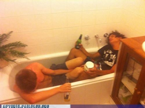 bathtub,beer,bros,corona,drunk,Heineken,passed out,protein,wasted