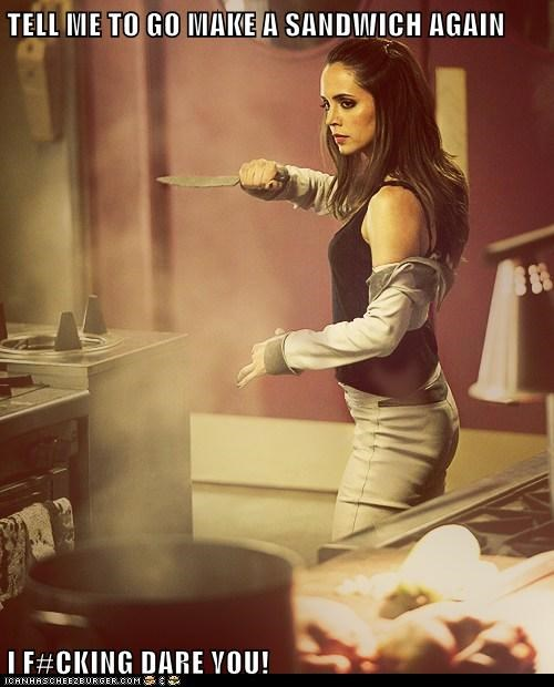 dollhouse,eliza dushku,i dare you,knife,sandwich,threat
