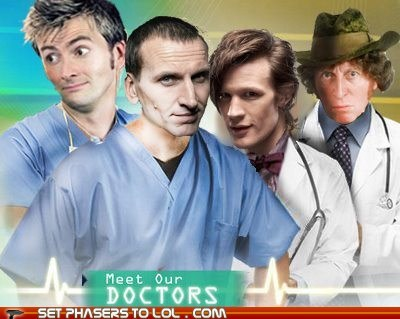 christopher eccleston,David Tennant,doctor who,hospital,Matt Smith,puns,the doctor,tom baker