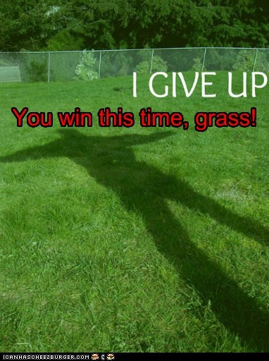give up,grass,lawnmower,win