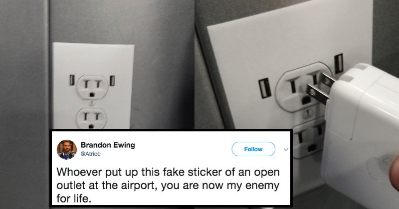 airport trolling prank power outlet - 6446341