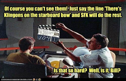 acting,behind the scenes,Captain Kirk,klingons,line,Shatnerday,special effects,Star Trek,uhura,William Shatner
