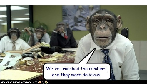 chimpanzees,crunch,delicious,eating,numbers,Office,pun