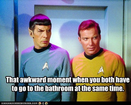 bathroom Captain Kirk friends Leonard Nimoy Shatnerday Spock Star Trek that awkward moment William Shatner - 6447362048