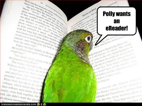 books captions close up ereader frustrated parrot polly want a cracker reading