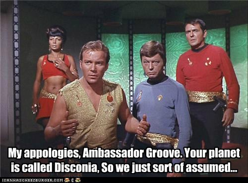assumption,Captain Kirk,DeForest Kelley,disco,faux pas,groove,james doohan,McCoy,mistake,Nichelle Nichols,scotty,Shatnerday,Star Trek,uhura,William Shatner