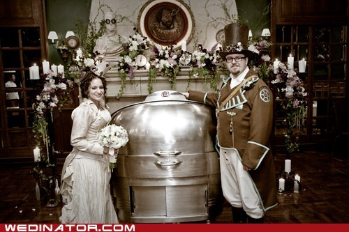 bride,funny wedding photos,groom,Steampunk
