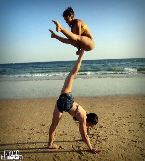 acrobat beach flexible stunt