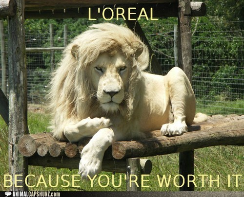 because-youre-worth-it,captions,commercial,lion,loreal,sell out,slogan
