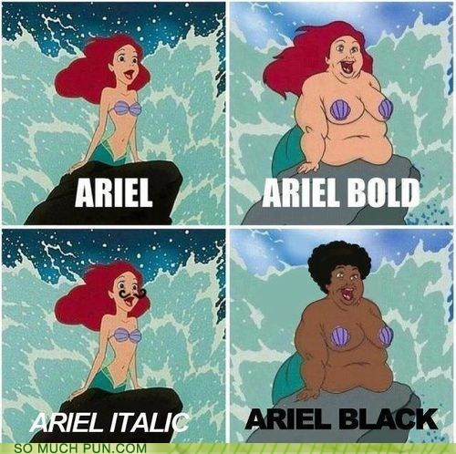 ariel black bold character disney font Hall of Fame italic repeat The Little Mermaid variations on a theme