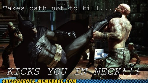 arkham city,batman,kick,neck,no killing