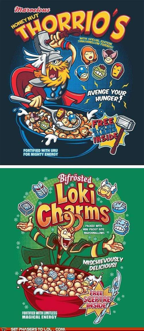avengers,breakfast,cereal,loki,lucky charms,marshmallows