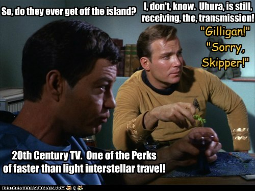 Captain Kirk DeForest Kelley gilligans island gilligans-island McCoy Shatnerday Star Trek time travel transmission TV uhura William Shatner