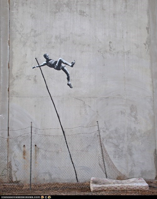 art,banksy,graffiti,jump,London 2012,olympics,pole vault,Track and Field
