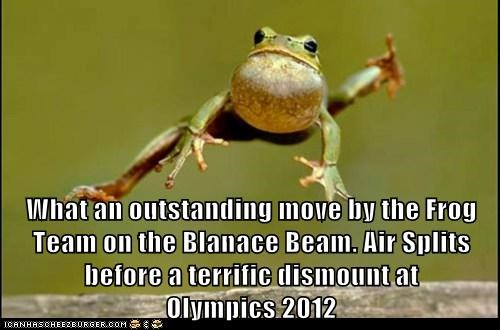 What an outstanding move by the Frog Team on the Blanace Beam. Air Splits before a terrific dismount at                                         Olympics 2012