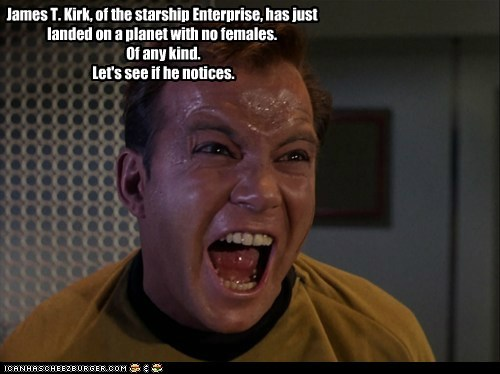 angry Candid Camera Captain Kirk enterprise females lets-see Shatnerday Star Trek William Shatner yelling - 6451485184