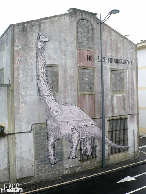 art,dinosaur,graffiti,hacked irl,Street Art