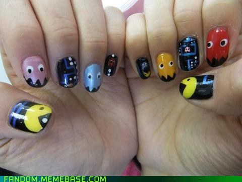 Fan Art nail art nails pac man