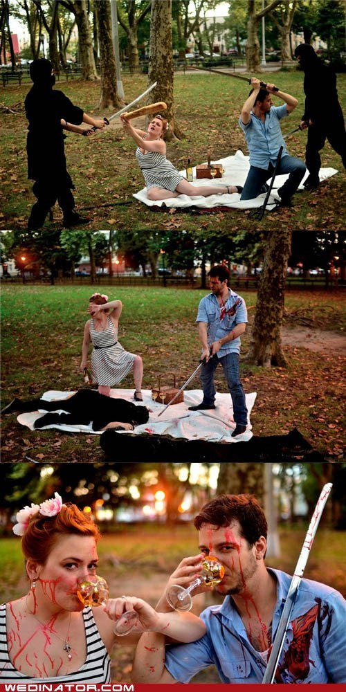 funny wedding photos,ninjas,picnic