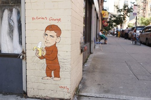 bi-curious george,george clooney,Hanksy,Street Art